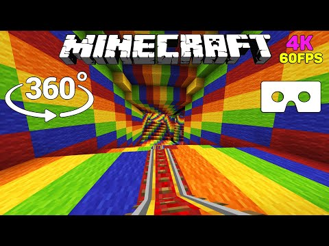 Optical Illusion In 360° - ROLLERCOASTER Minecraft [VR] 4K 60FPS