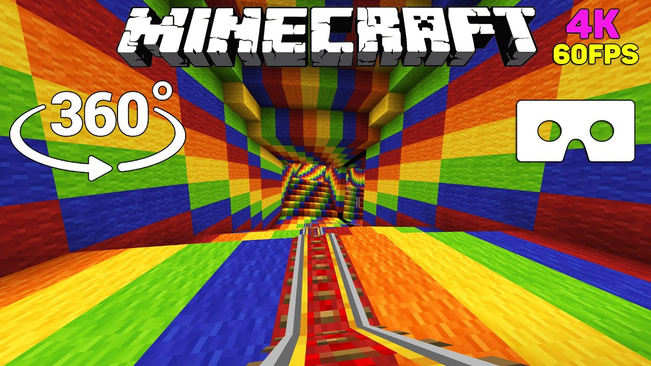 🌈Optical illusion in 360° – ROLLERCOASTER Minecraft [VR] 4K 60FPS