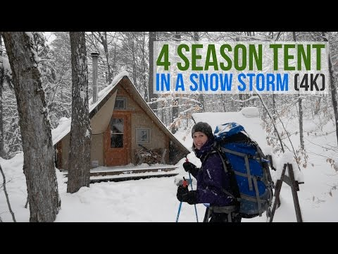WINTER CAMPING IN A 4 SEASON TENT DURING A SNOW STORM! (4K) DAY 1