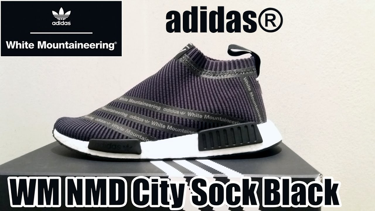 12a86aac7 adidas® White Mountaineering NMD City Sock Primeknit Black  shoe details +  on feet