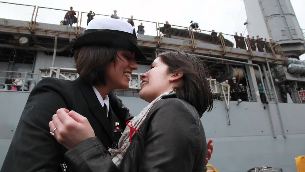 Navy First Same-Sex Couple Share First Kiss At Homecoming -5032