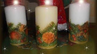 Новогодняя свеча  Декупаж