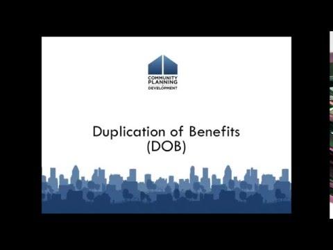 CDBG Webinar: 2016 CDBG-DR Duplication of Benefits - 4/7/16