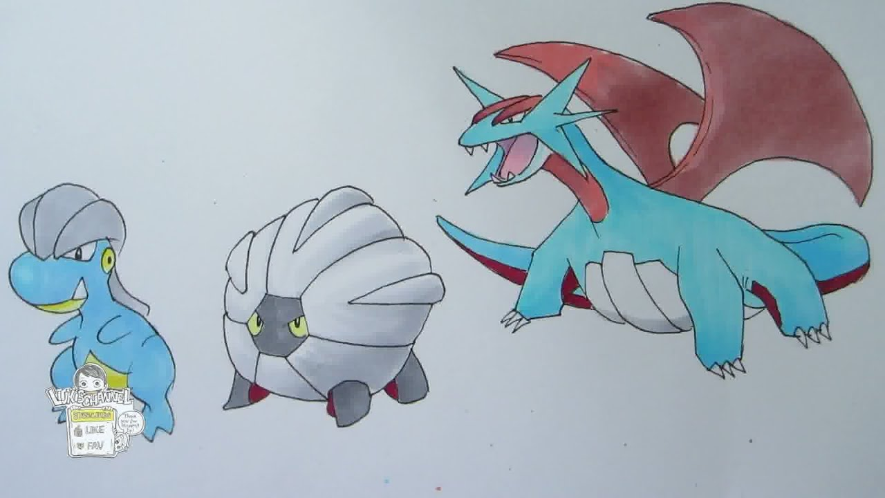 How to draw Pokemon: No. 371 Bagon, No. 372 Shelgon, No ...