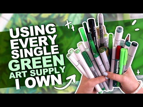 GOING GREEN?! | Drawing Something Using Every GREEN PENCIL, MARKER, WATERCOLOR, ETC I Own.