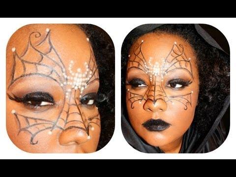Halloween makeup Tutorial: Spider Web Mask - YouTube