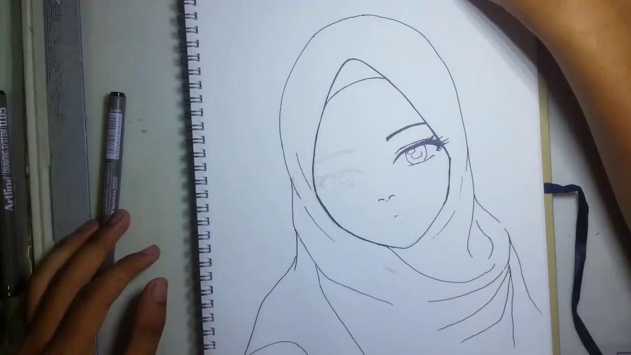 Hijab girl drawing timelapse