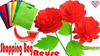 DIY Shopping Bags Awesome Stick Rose || How To Make Rose Using Carry Bag