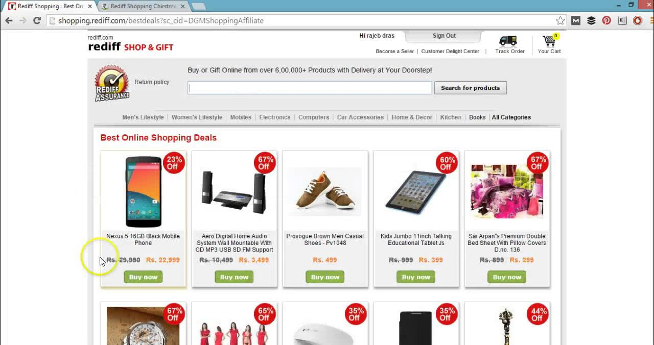 Rediff shopping discount coupons