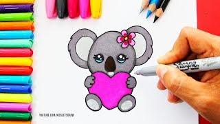 Cómo dibujar un KOALA Kawaii con un Corazón | How to Draw Cute Koala with a Love Heart
