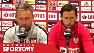 Jerzy Brzęczek i Grzegorz Krychowiak przed meczem Polska - Austria