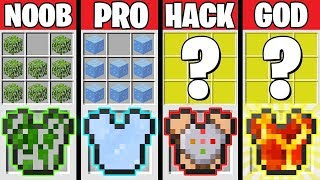Minecraft Battle: SUPER ARMOR CHALLENGE! NOOB vs PRO vs HACKER vs GOD in Minecraft Animation