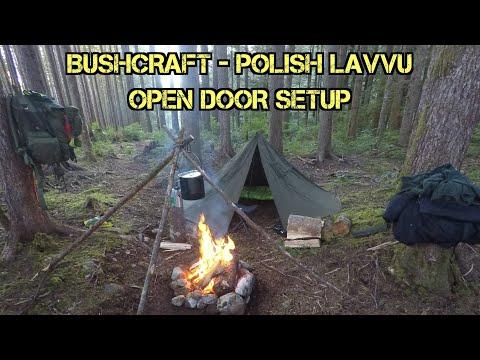 Bushcraft Polish Lavvu open door setup char cloth birds nest fire cedar tea aegismax tripod cot etc
