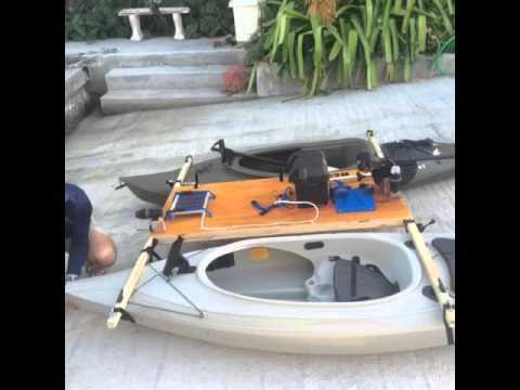 Diy motor kayak catamaran with outriggers doovi for Ascend 12t trolling motor