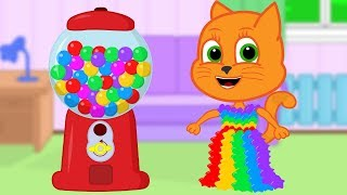 Cats Family in English - Gumball Machine Dress Cartoon for Kids