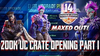 ROYAL PASS 14 MAXED OUT   200K UC CRATE OPENING PART1   NEW M416 SKIN   PUBG MOBILE