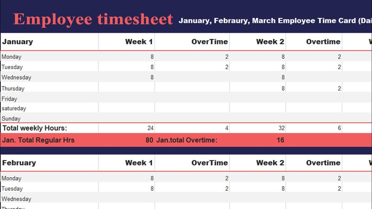 how to create employee timesheet daily weekly monthly and