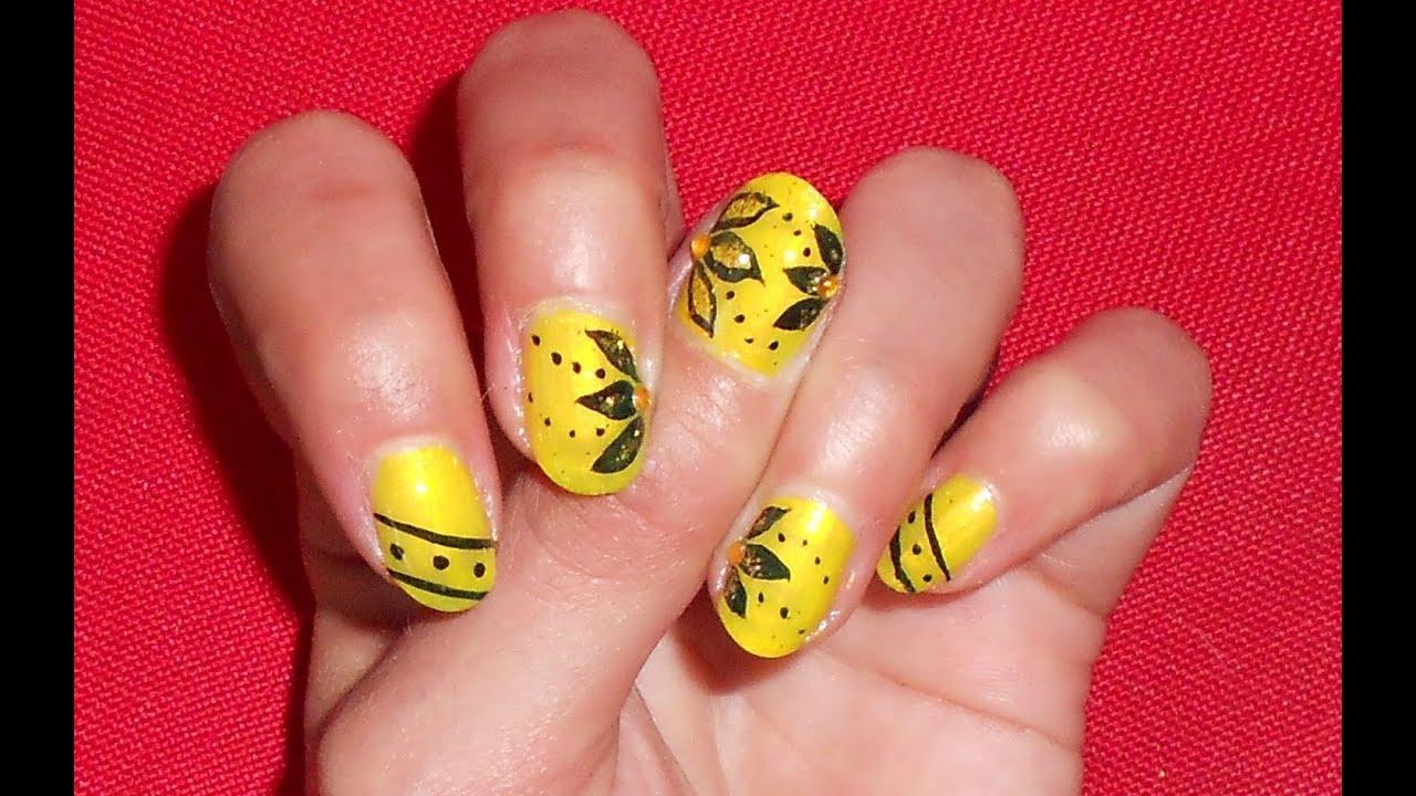 Ben noto Nail art giallo nero con glitter e swarowski anche x unghie corte  LH28