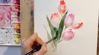 Рисуем тюльпаны акварелью(, 2016-03-07T09:25:08.000Z)