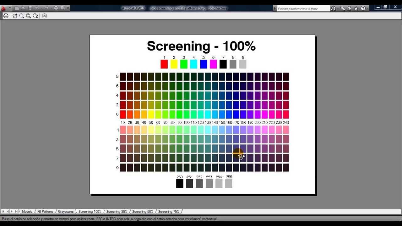 Colores y grosores de impresión en AutoCad - YouTube