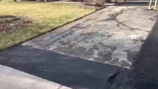 New driveway paving in residential area