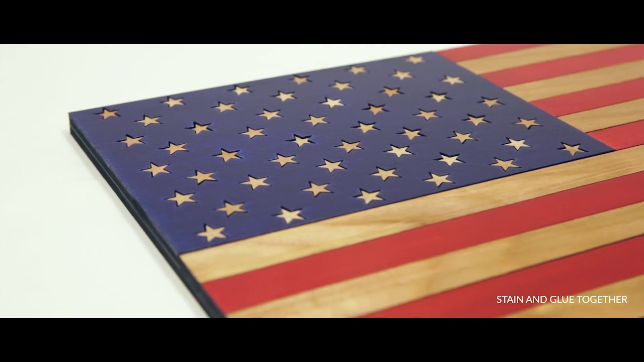 Laser Cut Wood (Oak) American Flag - Download Free File - Boss Laser