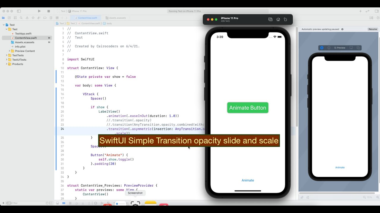 SwiftUI Simple Transition Opacity Slide and Scale