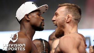 McGregor vivió su primera ceremonia de pesaje como boxeador para enfrentar a Mayweather