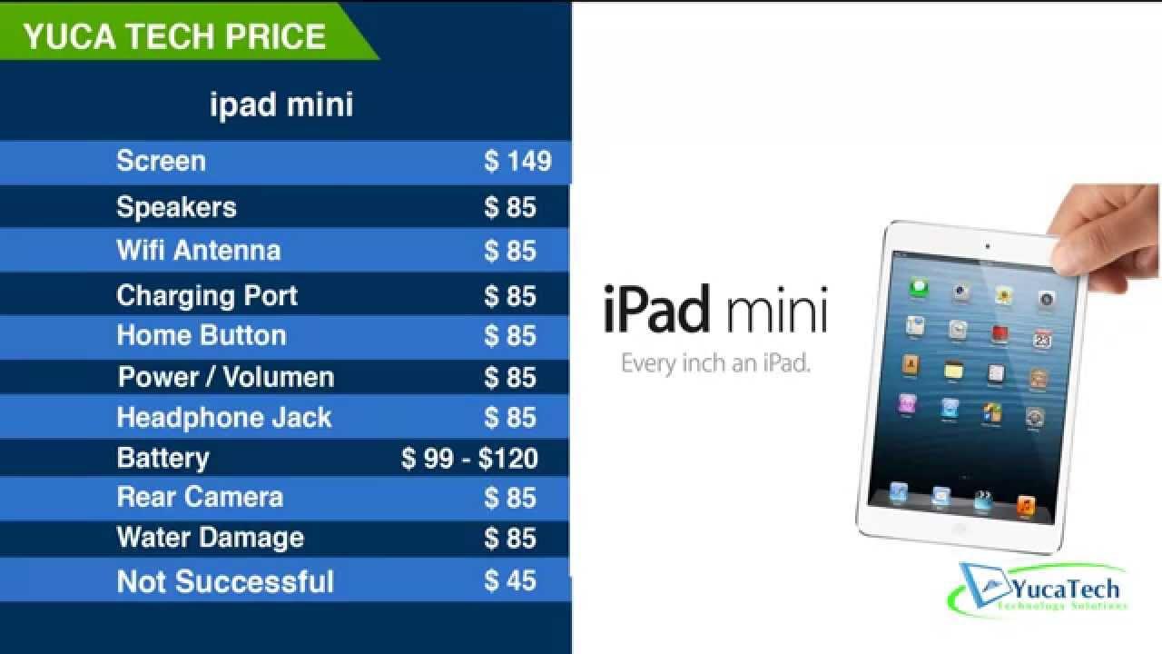 ipad mini cracked screen repair price list