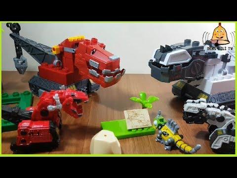 Dinazor Makineler Lego Oyuncak 3-DinoTrux Mega Bloks-We Changed the Heads of the Ty-Rux Vs D-Structs