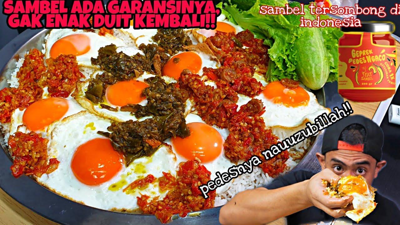 PEDESNYA NGACO!! MUKBANG TELOR DAN LALAPAN PAKE SAMBEL TERSOMBONG DI INDONESIA!!