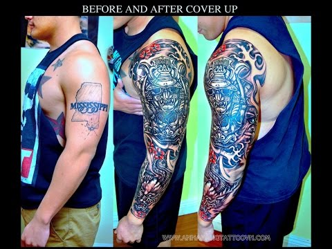 COVER UP WITH SAMURAI AND DRAGON (FULL SLEEVE) - YouTube