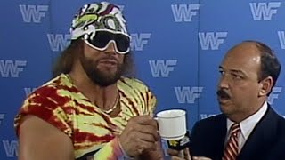 """""""Macho Man"""" Randy Savage calls Ricky Steamboat a cup of coffee: Prime Time Wrestling, March 23, 1987"""
