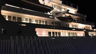 Superyacht Ulysses by night in Barcelona