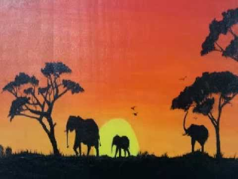 African sunset acrylic painting - YouTube