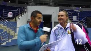 Aliaksandra Sasnovich takes the locker room walk