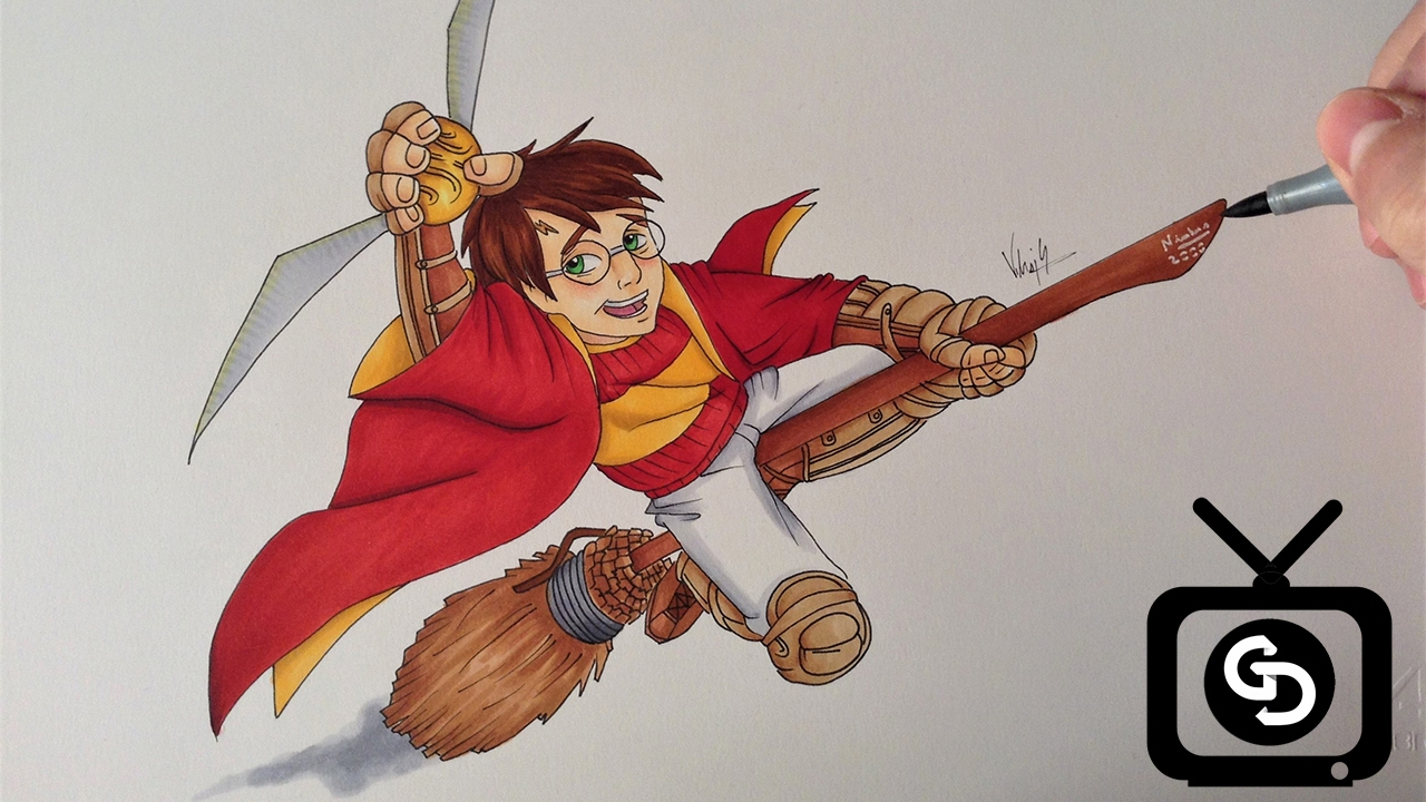 how to draw a cartoon wand for harry potter