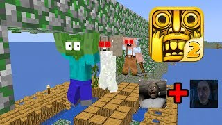 Monster School : TEMPLE RUN CHALLENGE WITH GRANNY AND GRANDPA - Minecraft Animation