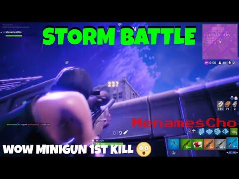 Menamescho's Ps4 - Fortnite - Storm Battle - Minigun and Sniper Kills Wow! - UK