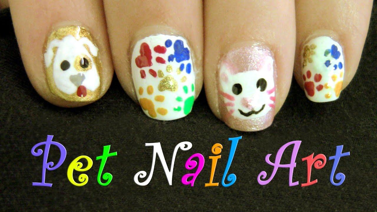 cat & dog nail art design- cute