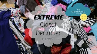 *EXTREME* 😱 Closet Declutter Konmari Style: The Raw & Real Truth! Part 1: Tops 👗 | Brittany Marie