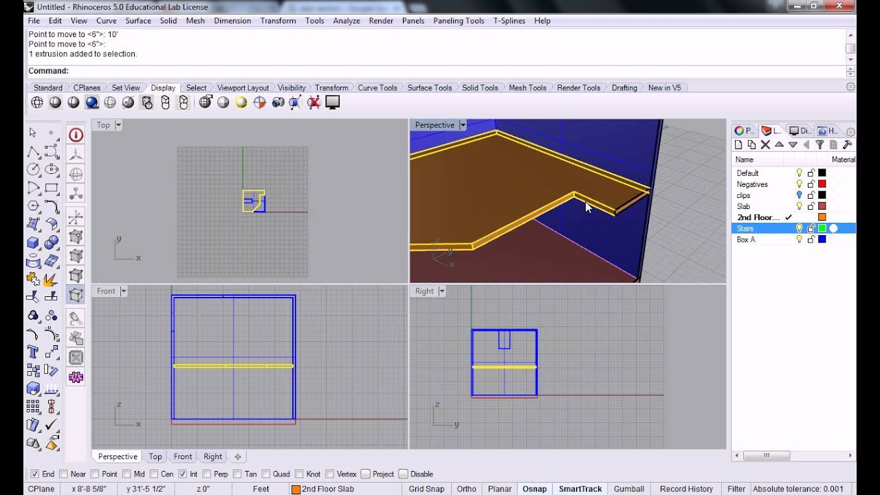 Rhino - 14 - Creating Stairs with Copy and Array Linear