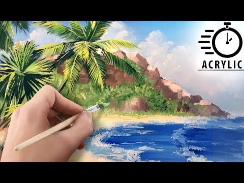 TIMELAPSE How to paint Palms and waves SEASCAPE with Acrylic! Tutorial for Beginners! EASY