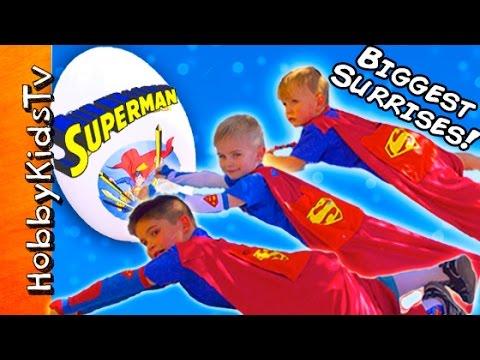 Worlds BIGGEST SUPERMAN Egg! SUPER Kids Surprise Adventure + Kryptonite Spiders HobbyKidsTV