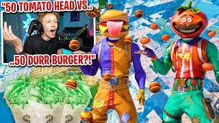 I got 50 TOMATO HEADS vs 50 DURR BURGERS to scrim for $100 in Fortnite... (I actually WON!)