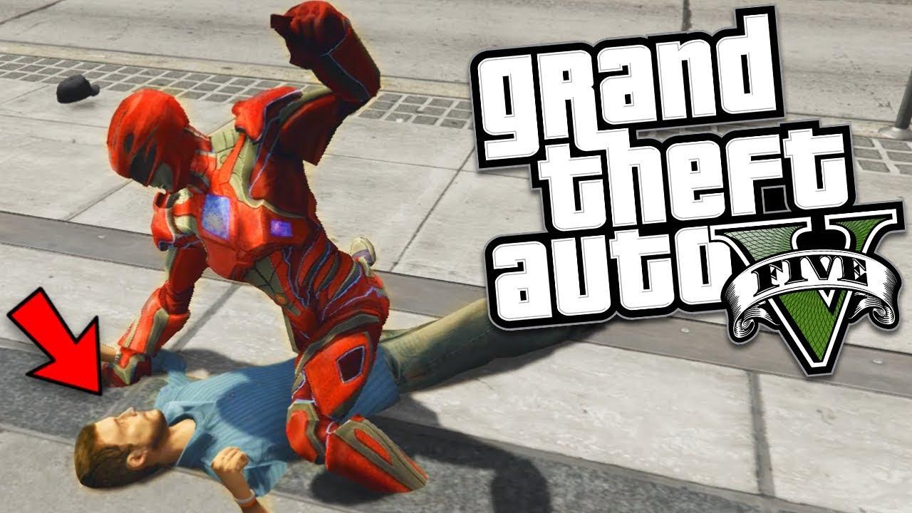 GTA 5 Mods - POWER RANGERS GO STREET FIGHTING MOD w/ NEW FIGHTING STYLE  (GTA 5 Mods Gameplay)