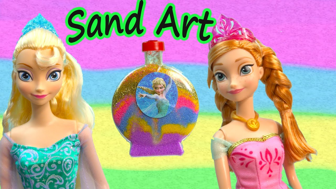 Sand Art Craft With Disney Frozen Stickers And Queen Elsa