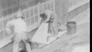 Application of Built Up Asbestos Roofing 1930