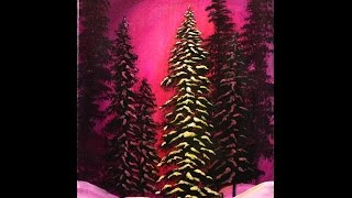 Merry and Bright Winter Forest Step by Step Acrylic Painting on Canvas for Beginners