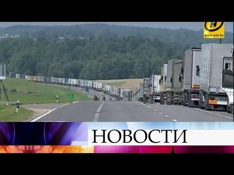 ВКалининградской области награнице сЛитвой образовалась огромная пробка изгрузовых машин.